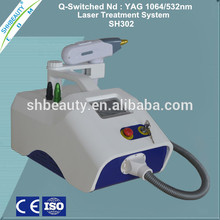 High energy and frequency 1064nm & 532nm q switch nd yag laser tattoo removal machine