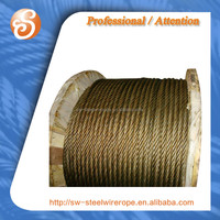 High carbon steel rod 19*7 ungalvanized 12 mm steel wire rope for elevator and lift