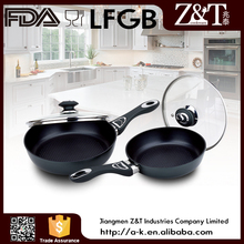 Black Aluminium non-stick fry pan for induction cooker