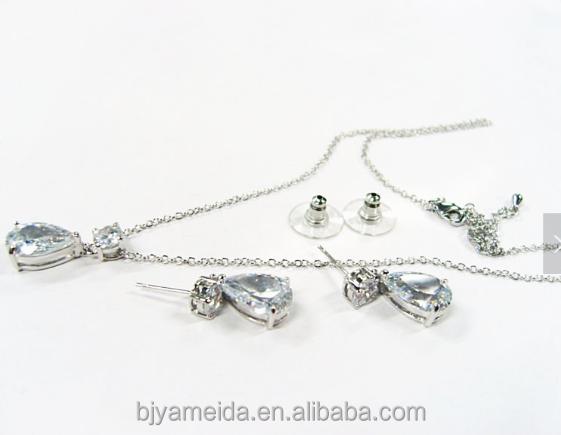 Bridal jewelry set platinum plating platinum wedding necklace set