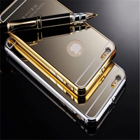 Women Make up Acrylic Mirror Case For iPhone 6, Gold Bumper Case For iPhone 6 Plus, For iPhone 6 Metal Aluminum Bumper