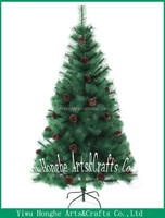 canadian needle pine chrismtas tree with pine cone,plastic artificial pine needles christmas tree
