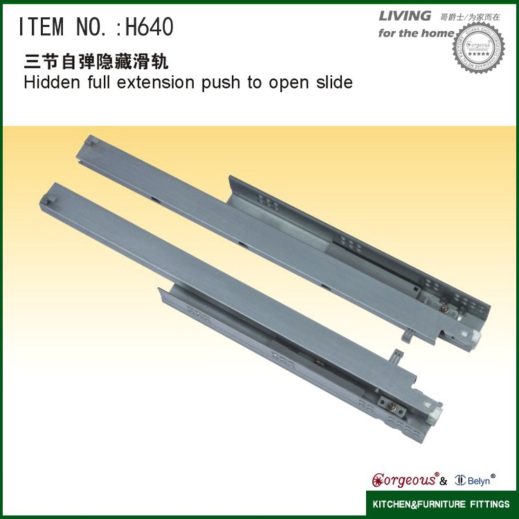 Hidden full extension push to open slide cheap conceal drawer slides H640