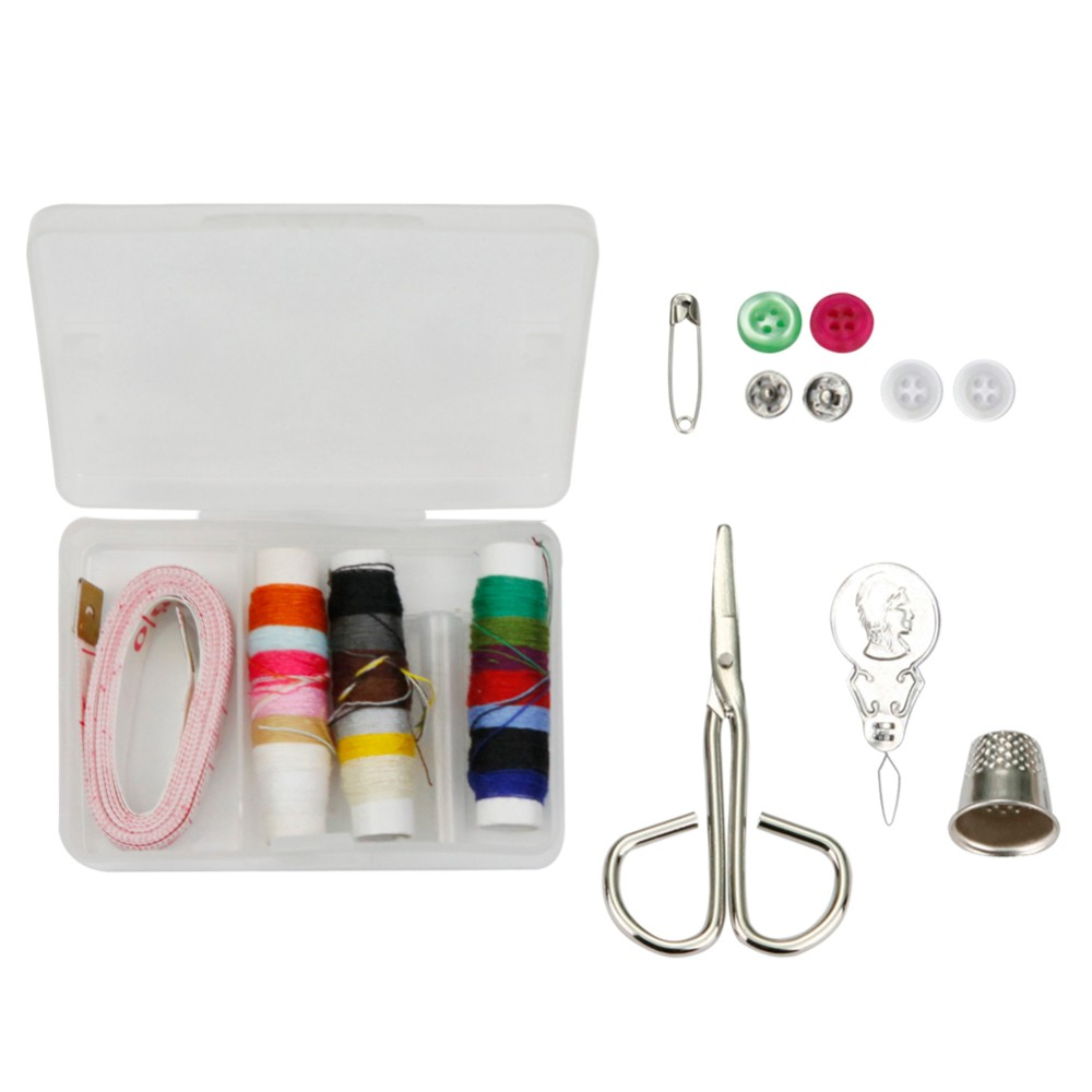 D&D New Travel Sewing Kits with Sewing Tools Thread Scissors Safety Pins Snap Fasteners Needles Buttons Sewing Box