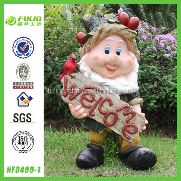 Bargain Buys For Welcome Sign Held By Elf Statue Garden Decor