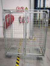 zinc plated logistics steel folding wire cages with wheels