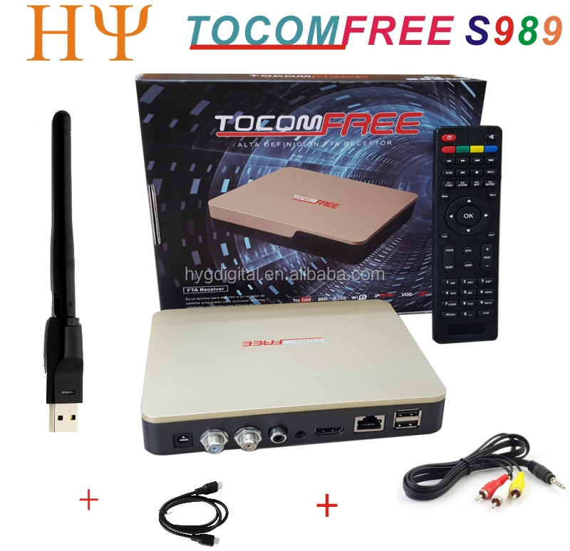 TOCOMFREE S989 satellite receiver with ACM H.265 USB wifi IKS SKS IPTV Vod Youtube 3G dongle for South America set top box