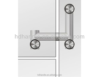 Stainless steel side panel over panel connector for glass door