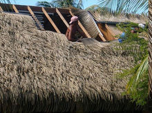 Artificial plastic palm leaf thatch roof