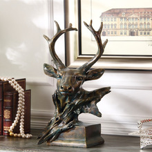 Canada Antique Handicraft Deer Head Sculpture Home Furnishing With Bronze Blue Home Decor Set Folk Arts And Crafts Supplies