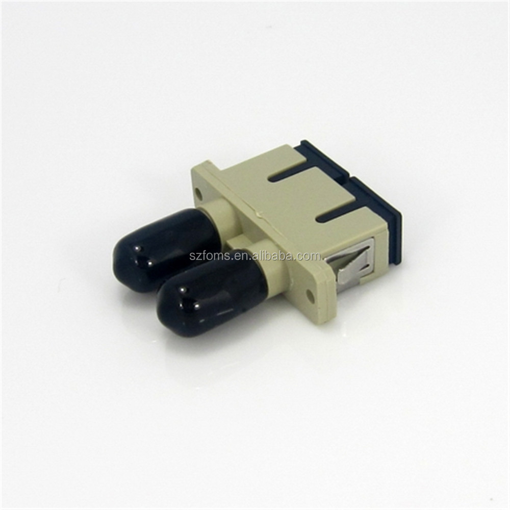 Beige Color SC to ST Fiber Optic Adapter Duplex Multimode Plastic Optical Fiber Adapter