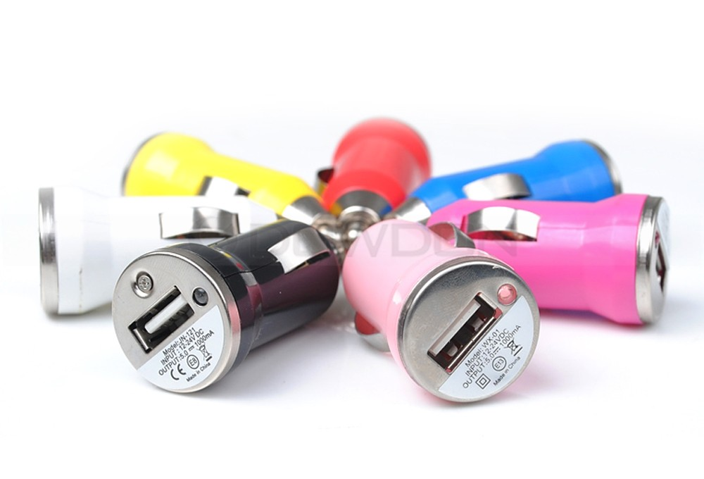 Colorful Mini Bullet USB Car Charger Adapter for Mobile Phones