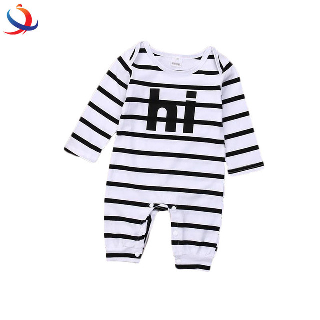 Hot Newborn Baby Girl Boy Clothes Long Sleeve Striped Bodysuit Jumpsuit Made In China