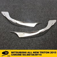 Chrome HEAD LIGHT COVER trim for Mitsubishi Triton 2015 car lighting accessories chrome car accessories