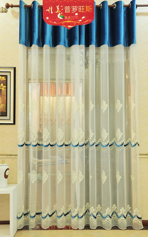 embroidered white voile tulle fabric for home curtain with blue color Velvet embroidery SJ105-17