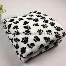 Xinbo Ultra Thick Black Dog Paw Print Coral Fleece Blanket