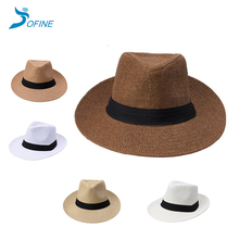 100% paper cheap solid color paper straw panama hat men jazz hat