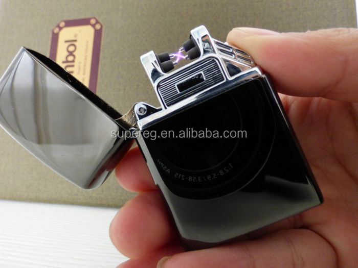 High tech electric plasma lighter usb charged double X arc pulse lighter windproof rechargable lighter