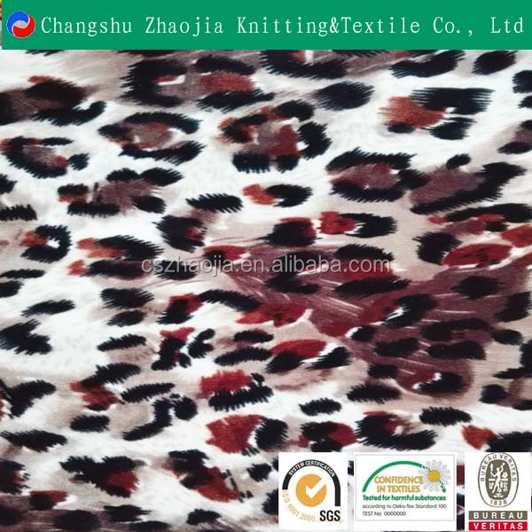 Sexy leopard comfortable handfeel 100% polyester printed velboa fabric for lady garment