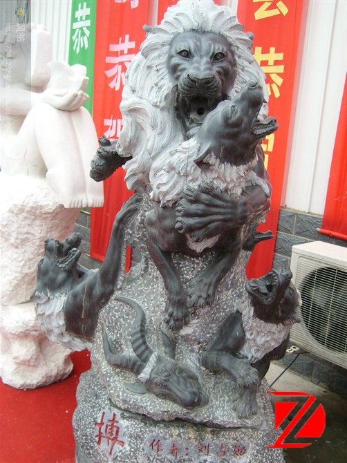 Marble Lion Sculptures with Goat Statues