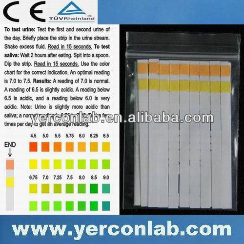 pH tester dry urine & saliva strip CE FDA ISO 80pieces/pack