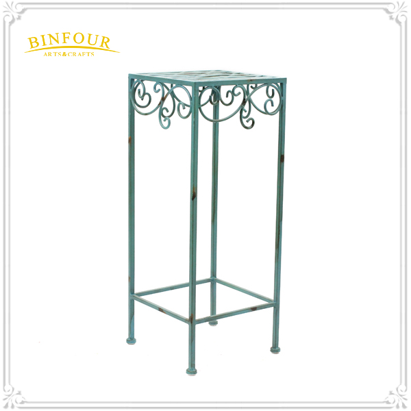 Antique square shape outdoor blue wrought iron plant stand
