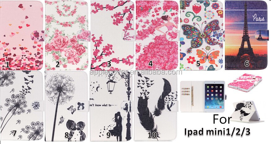 High quality PU Leather Flip Case Cover for iPad Mini 2 with Kick Stand , for iPad Mini 2 accessory