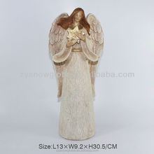2017 Wood resin angel figure for peace