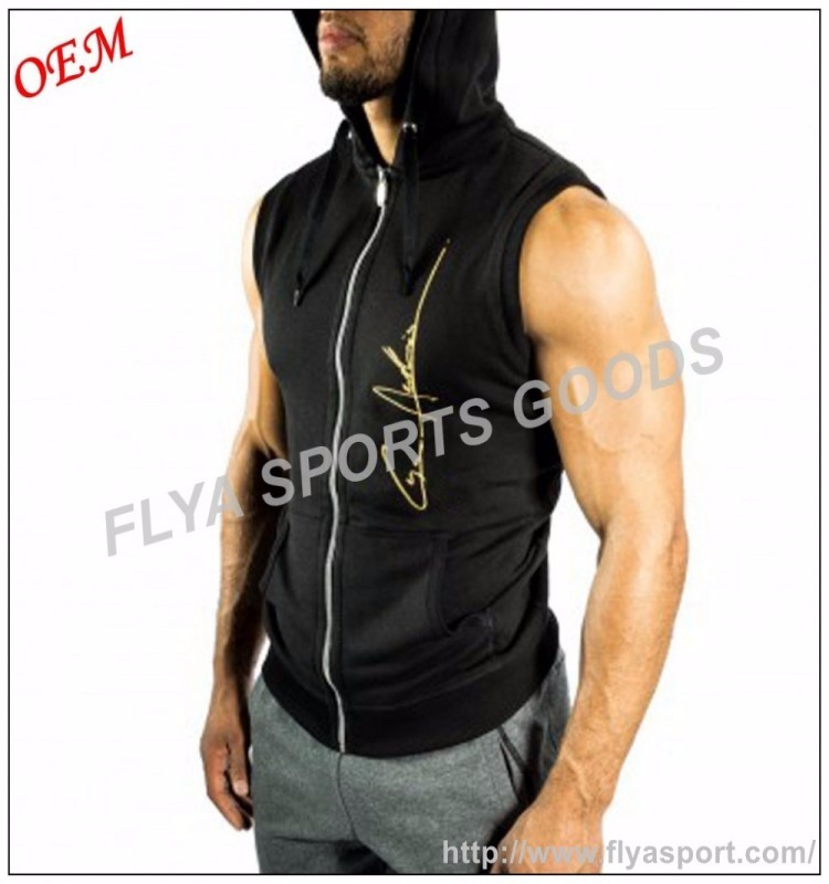 oem sleeveless pullover bodybuilding wear high quality hoodies custom