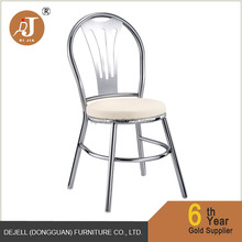 Country Style Oval Back Round Stainless Steel Side Dining Chair with PU Cushion