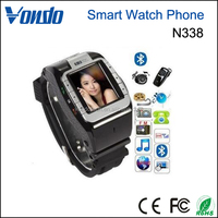 Vondo New N388 GSM Quadband Voice Dialing Watch Cell Phone Unlocked Touch Screen--Black