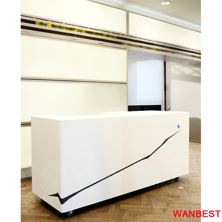 Cheap Acrylic Office Portable Small Clinic Reception Table Information Desk Design