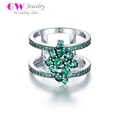 2017 Globalwin fashion jewelry 925 sterling silver finger rings for ladies with green cz