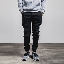 Fashion Man Jean Trousers Trendy Stylish Elastic Narrow Bottom Printed Knee Ripped Jeans Men 2016
