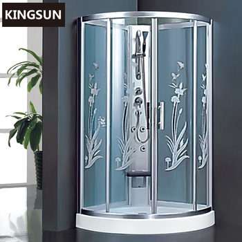 K-7403 Freestanding Sector Silk Print Picture Glass Shower Room China Shower Cabin
