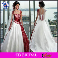 2015 New Fashion Style Ball Gown Cap Sleeve Square Neck Lace Appliqued Burgundy And White Wedding Dress