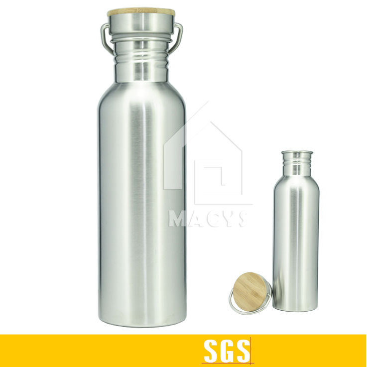 750ml cheap stainless steel drink water bottle with bamboo lid