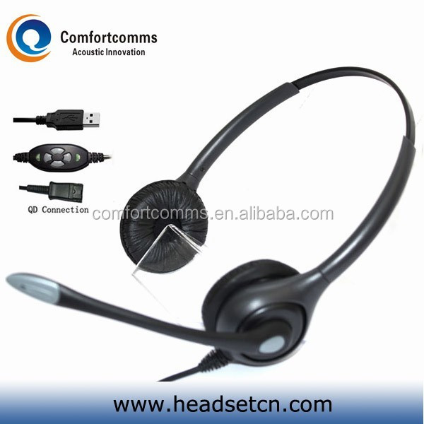 Professional design usb noise canceling headset with computer mic headphone