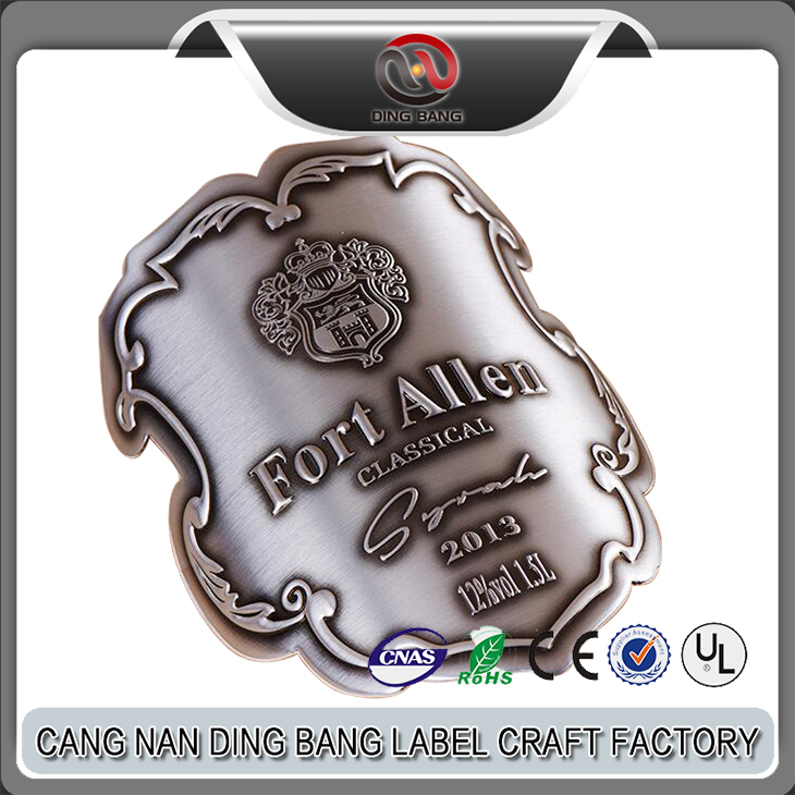 OEM Top Qulaity Colloidality Type Custom Made Embossed Brand Logo High Brushed Antique Bronze Metallic Bended Wine Label