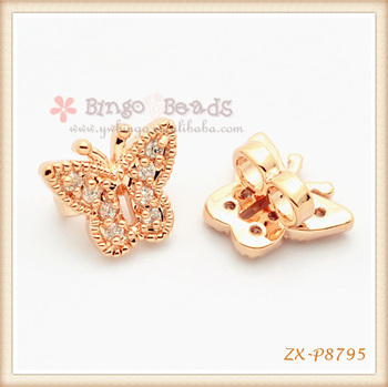 Rose Gold Zircon Diamond Crystal Butterfly Beads For Jewelry