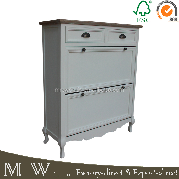MW Home french style solid pine wood cream color 2 drawers cheap antique wooden shoe cabinet
