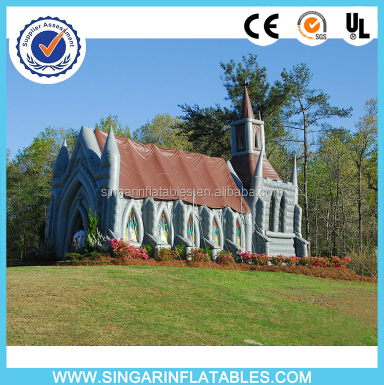 2016 latest customized inflatable church tent,inflatable church for wedding