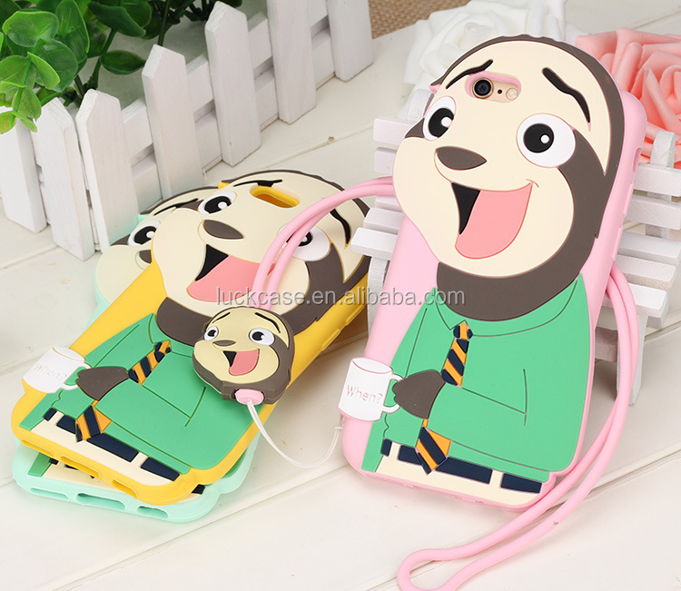 2017 trending products newest design mobile accessories Zootopia cute 3D sloth silicone phone cases with lanyard for iphone 6