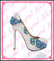 Aidocrystal hot sale crystal rhinestone blue butterfly pattern crystal high heel white wedding shoes