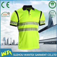 Short sleeve high visibility reflective safety polo shirt