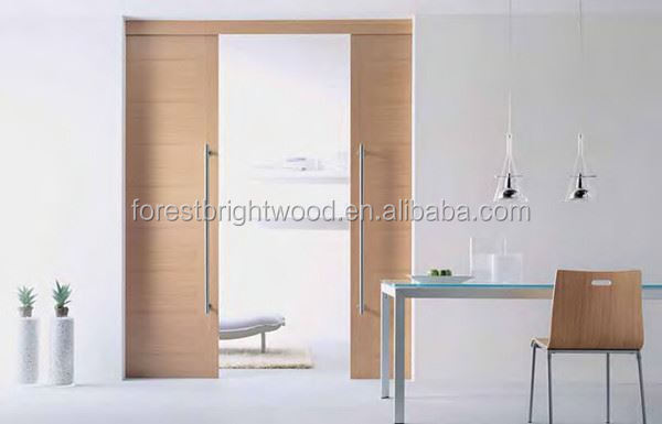 Double Leaf Flush Sliding Wood Pocket Doors