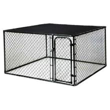 10 ft. x 5 ft. x 6 ft Black Powder-Coated Chain Link Boxed Kennel