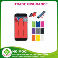 NO MOQ!factory price silicone card holderwith stand mobile phone case card holder wallet