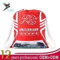 Digital printed Gabardine sports bags world cup Switzerland drawstring bags