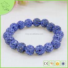 Wholesale - 12pcs shamballa shambala bracelets Light blue disco ball beads crystal Friend bracelets